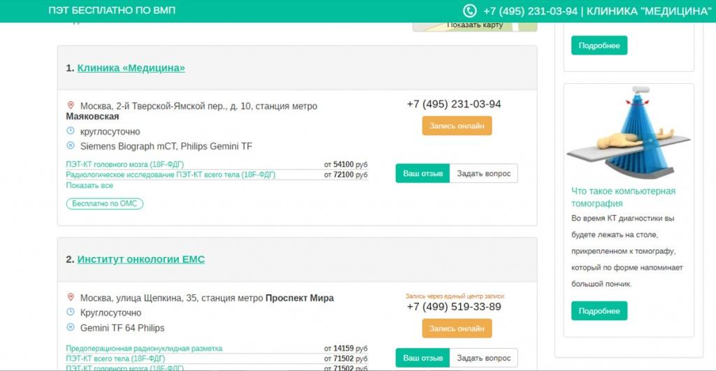 Фильтр по адресам медицинских центров и ценам ПЭТ КТ на примере г. Москвы